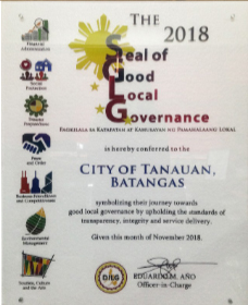 2018 Seal of Good Local Governance, nasungkit ng Tanauan
